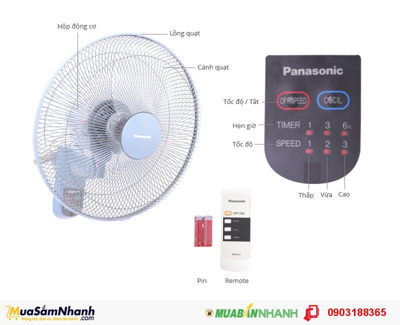 Quạt treo tường Panasonic có chế độ hẹn giờ tiện lợi - MSN188023