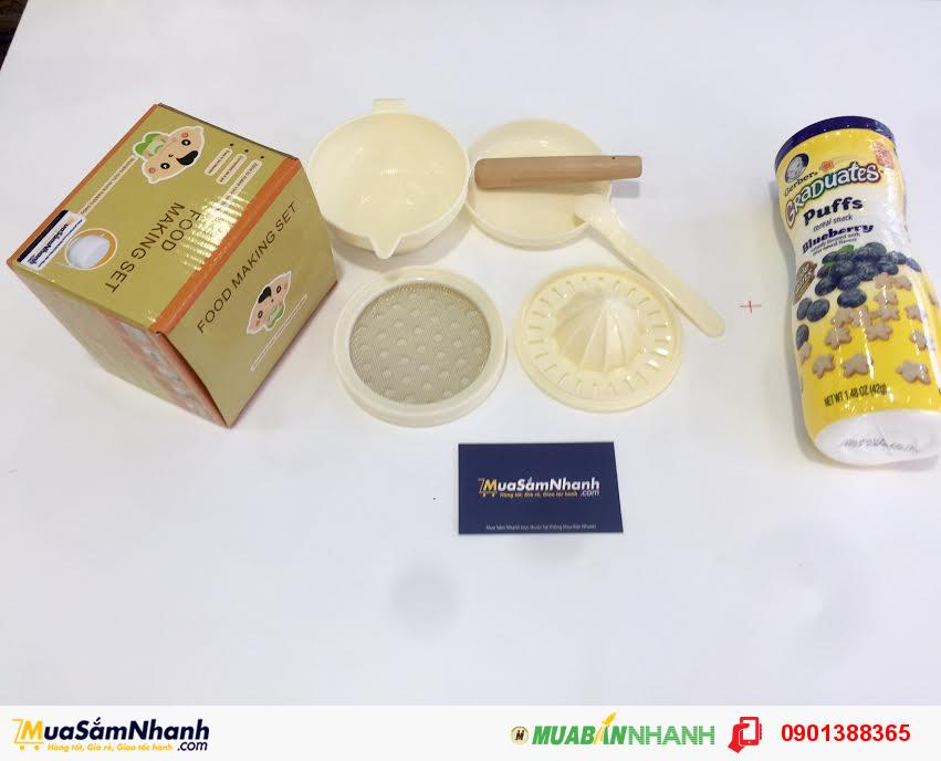 Combo Dụng Cụ Nghiền Thức Ăn + Bánh Ăn Dặm Đủ Vị Gerber Mỹ Cho Bé - MSNCB0007