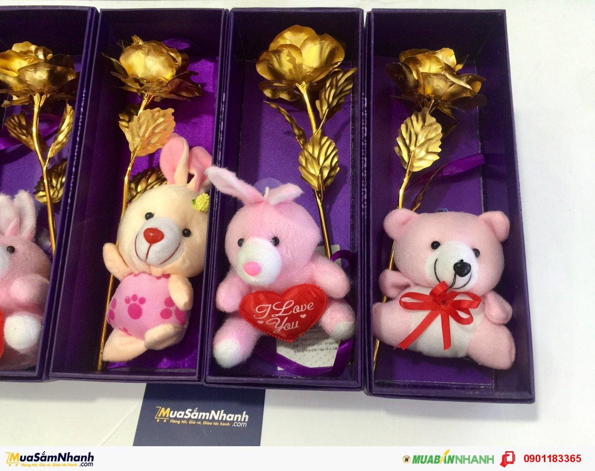 Quà Tặng Bạn Gái Dễ Thương, Hoa Mạ Vàng Kèm Gấu