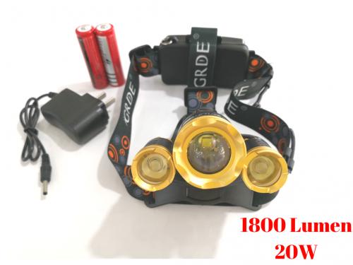 Đèn Pin Đội Đầu 3 Đèn Led 4 Chế Độ Siêu Sáng RJ-3000