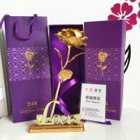 Hoa Hồng 3D Mạ Vàng Có Đế LOVE