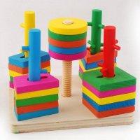 Bộ Thả hình 3D đế vuông 5 trụ Wooden Toys , Chất Liệu An Toàn Cho Bé