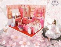 Mô hình nhà gỗ DIY Món quà độc đáo cho bé, Mẫu Căn phòng Màu hồng  - MSN1831015