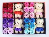 Hoa Hồng Sáp 6 Bông Kèm Gấu, Hoa Hồng Sáp Kèm Gấu - MSN1831019
