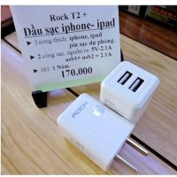 Cóc Sạc 2 cổng USB 2.1A Chính Hãng Rock T2 Plus GS-50210C