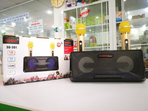 Loa Bluetooth Karaoke Mini SD-301 + Tặng Kèm 2 Mic