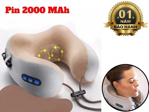 Gối Massage Cổ Gáy Chữ U 360 Pin Sạc