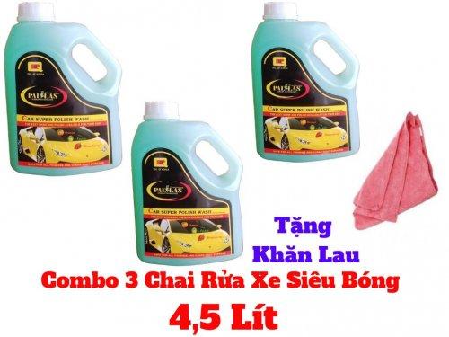 Combo 3 Chai Nước Rửa Xe Siêu Bóng Tạo Bọt Pallas Tặng Kèm Khăn 4500ml