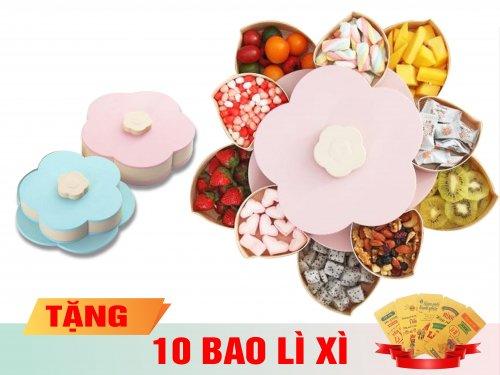 Khay Mứt 2 Tầng 10 Ngăn Xoay Cánh Hóa + Tặng Kèm 10 Bao Li xì