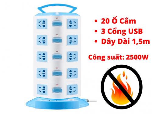 Ổ Điện Đa Năng 5 Tầng 20 ổ cắm 3 Cổng USB, Dây 1,5m, Chống Giật ,Chống Cháy Nổ - MSN383222