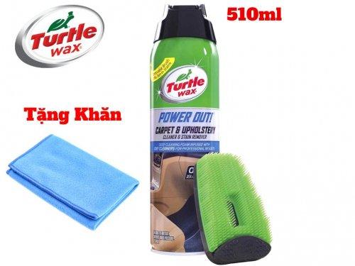 Chai Xịt Tẩy Nệm Da Nỉ Taplo Turtle wax POWER OUT 510ml Tặng Khăn