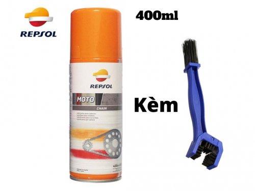 Combo chai xịt dưỡng sên REPSOL CHAIN LUBE 400ml và bàn chải chà sên - MSN388358