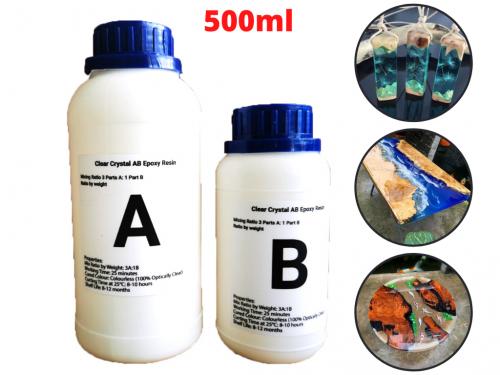 Keo Đổ Nhựa Làm Khuôn, Vẽ 3D Trong Suốt AB Epoxy Resin Clear Crystal 500ml