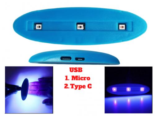 Đèn Uv Mini 3 Bóng 3W Sấy Keo Uv, Sấy Móng Tay Hỗ trợ cổng USB C và Micro