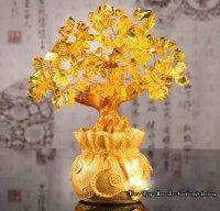 Cây Tài Lộc Đá Thạch Anh Vàng 18.5cm - MSN1831086