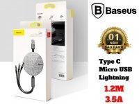 Cáp Sạc Đa Năng 3 Trong 1 Baseus Fabric Flexible Type C Micro Lightning