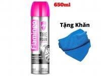 Dung Dịch Rửa Dưỡng Lốp Dưỡng Nhựa Nhám 2 Trong 1 Flamingo TIRE FOAM 650ml Kèm Khăn