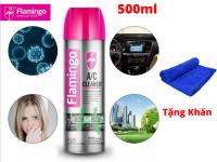 Dung Dịch Vệ Sinh Khử Mùi Điều Hòa Xe Hơi Có Mùi Thơm Flamingo F020 500ml Tặng Khăn