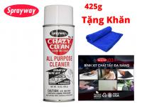 Dung Dịch Xịt Tẩy Đa Năng Sprayway Crazy Clean All Purpose Cleaner 539g Tẩy vết Mực, Tẩy Băng keo, Tẩy Dầu Tặng Khăn